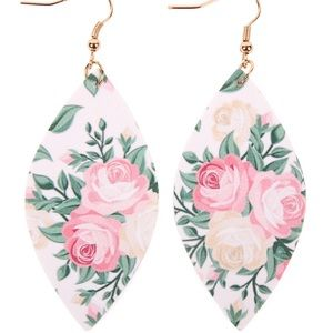 🌞SUMMER SALE🌞 Pink floral faux leather earrings
